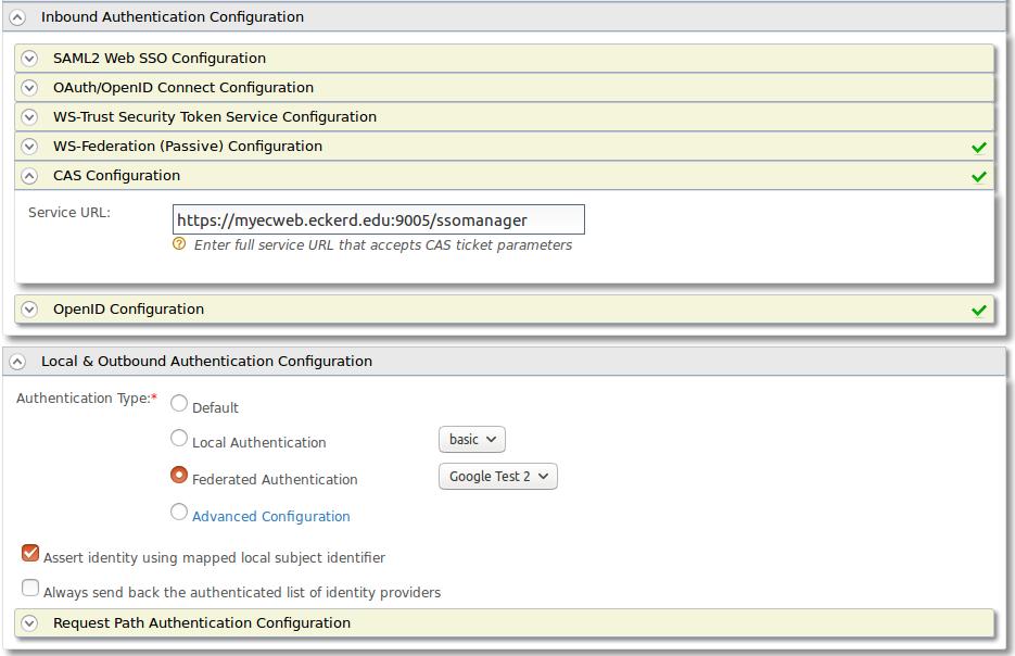 Service Provider Authentication Configuration